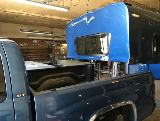 Installing the Caravan shell in Reno, Nev., in the