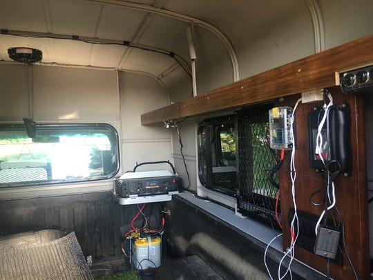 In this shot the inverter, battery and finished hardwood