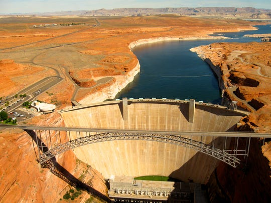 Water levels in Lake Powell help determine the flow in the Colorado River into Lake Mead.