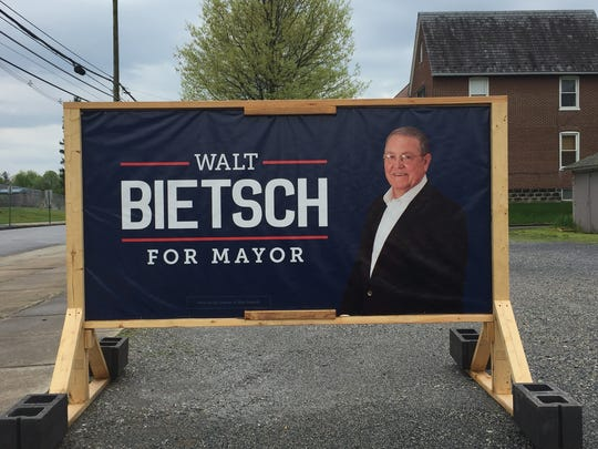 A Walt Bietsch campaign sign is seen on Fourth Street,