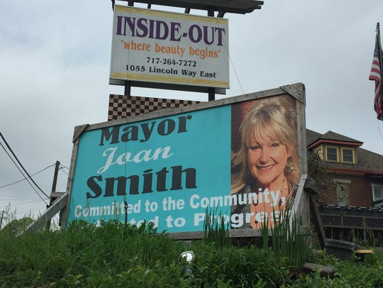 A Joan Smith campaign sign is seen on Lincoln Way East,