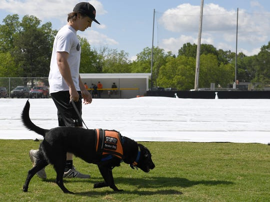 Trey Sherrill walks with his service dog, Freckles, as the South Gibson baseball team prepares to do field maintenance at Medina Lions City Park in Medina, Tenn., on Friday, May 5, 2017.