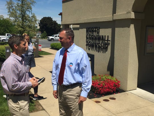 Doug Cheyney (right) talks with North Cornwall Township