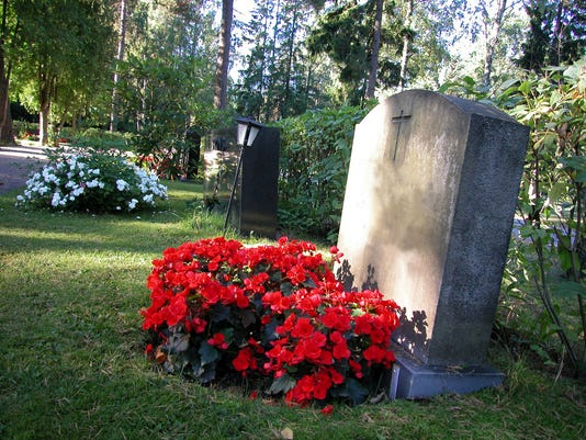 Red flowers on a grave