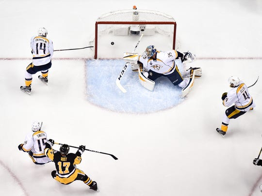 Pittsburgh celebrates the third goal of the game, this
