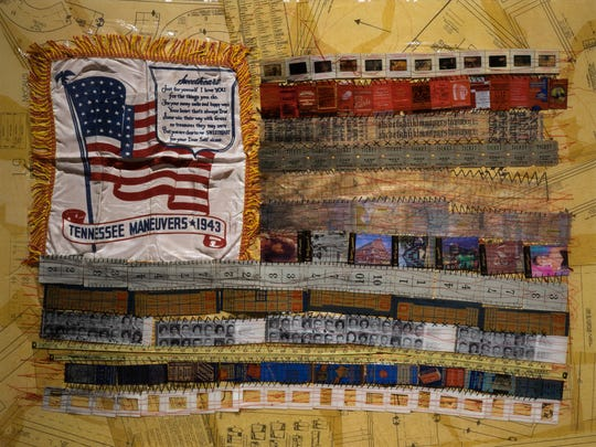 "Marilyn Artus, ""Her Flag XXVI,"" mixed media with hand and machine embroidery is on display at The Arts Company in Nashville."
