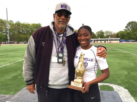 New Rochelle coach Andy Capellan with Kiana Stallworth at the Loucks Games