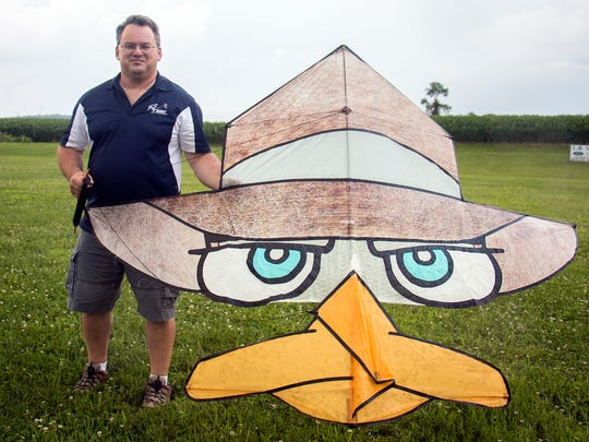 Phil Broder found inspiration for his national prize-winning 'Perry the platypus' kite, after seeing the graphic on someone's shirt.