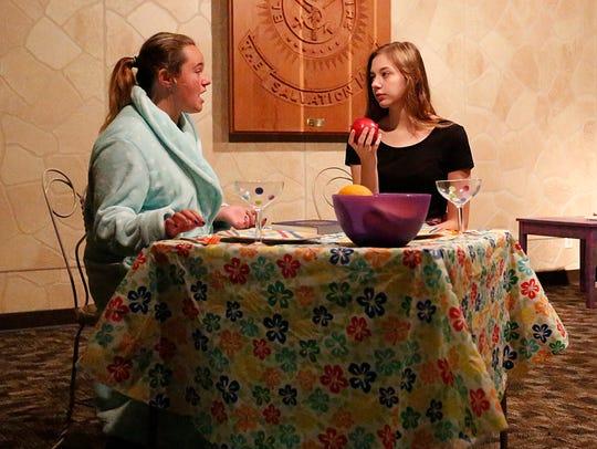 Rylee Pritchard and Mackenzie Gibson rehearse a scene