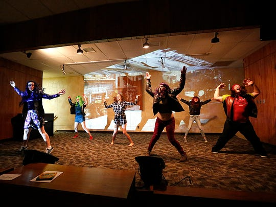 "Lauren Fabris, Madeline Chase, Mackenzie Gibson, Breanna Schmoldt, Christianna Ecker and and William Millard rehearse a scene from ""A Dream To Remember"" Aug. 2 at the Salvation Army stage in Fond du Lac. The play will run at the Salvation Army Aug. 18 to 20."