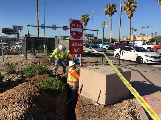 Crews have started construction on a $3.7 million wrong-way vehicle detection project. Here, trench work is underway at Interstate 17 and Indian School Road.