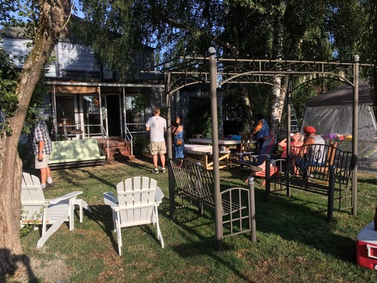 A residential barbecue in Jamie Boe's backyard in Independence on Saturday evening.
