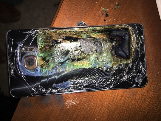 This Oct. 9, 2016, file photo shows a damaged Samsung