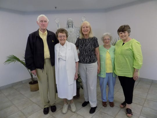 John Anhut, Sister Colette, Diane Holcomb, Eleanore Guirlinger and Carol Greening.