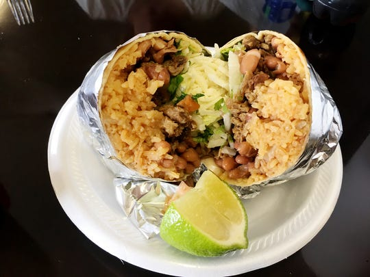 La Juquilita's beef burrito is plenty big for two diners to split.