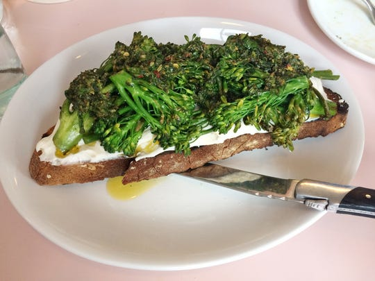 Cafe Roze: Broccoli Toast with whipped ricotta and