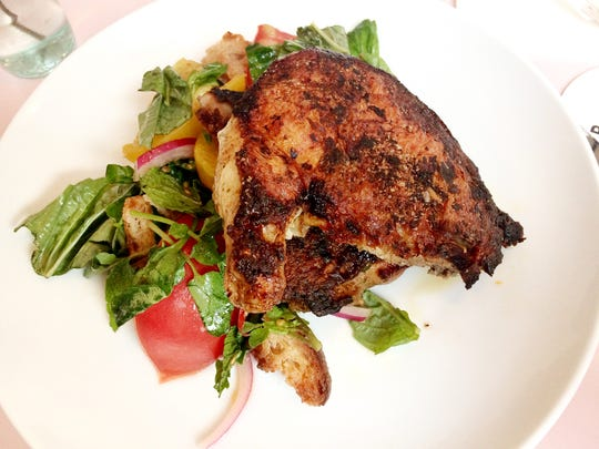 Cafe Roze: Harissa Chicken with tomato-mint panzanella