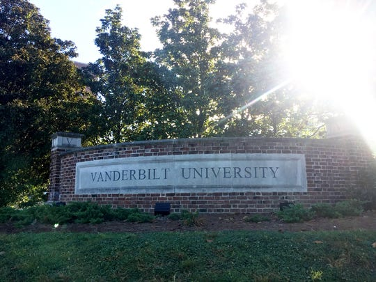 A Vanderbilt University sign at the corner of 25th and West End where the new 20-story, 340-room Residential College A tower would rise.