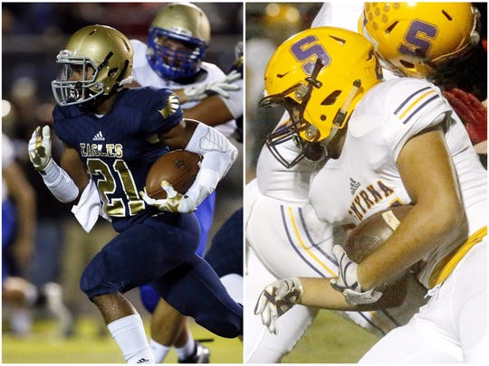 Independence's Troy Henderson (left) and Smyrna's Blake Watkins (right)