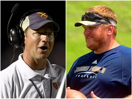 Father Ryan coach Brian Rector (left) and Pope John Paul II coach Justin Geisinger (right)