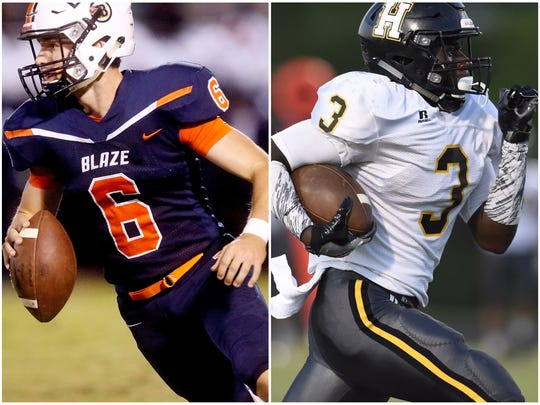 Blackman's Connor Mitchell (left) and Hendersonville's Anthony Hughes (right)