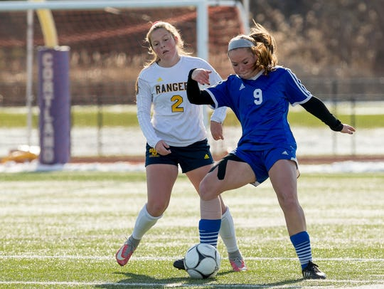 Pearl River's Alyssa Portington (right) earned fifth team all-state honors last season. The defender is expected to be a key piece for the Lady Pirates this season.
