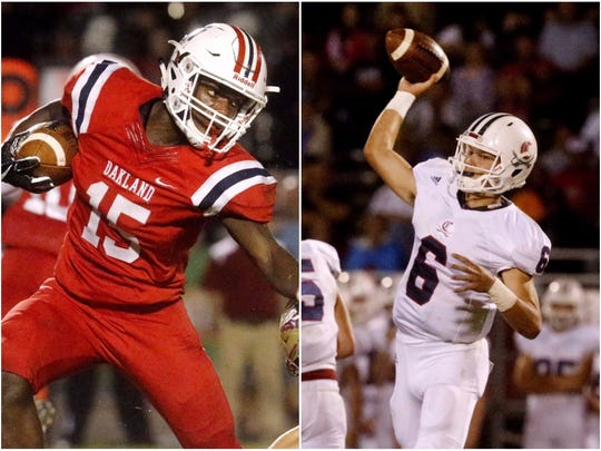Oakland running back Jeron Rooks (left) and Cookeville quarterback Cade Smith (right)