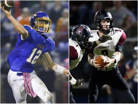 DCA quarterback Henry Mosely (left) and Davidson Academy quarterback Stone Norton (right)