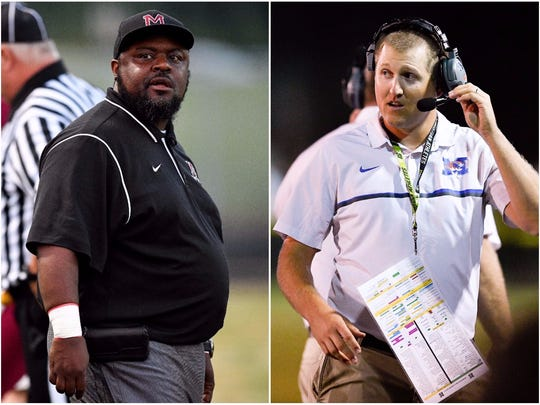 Maplewood coach Arcentae Broome (left) and Marshall County coach Thomas Osteen (right)