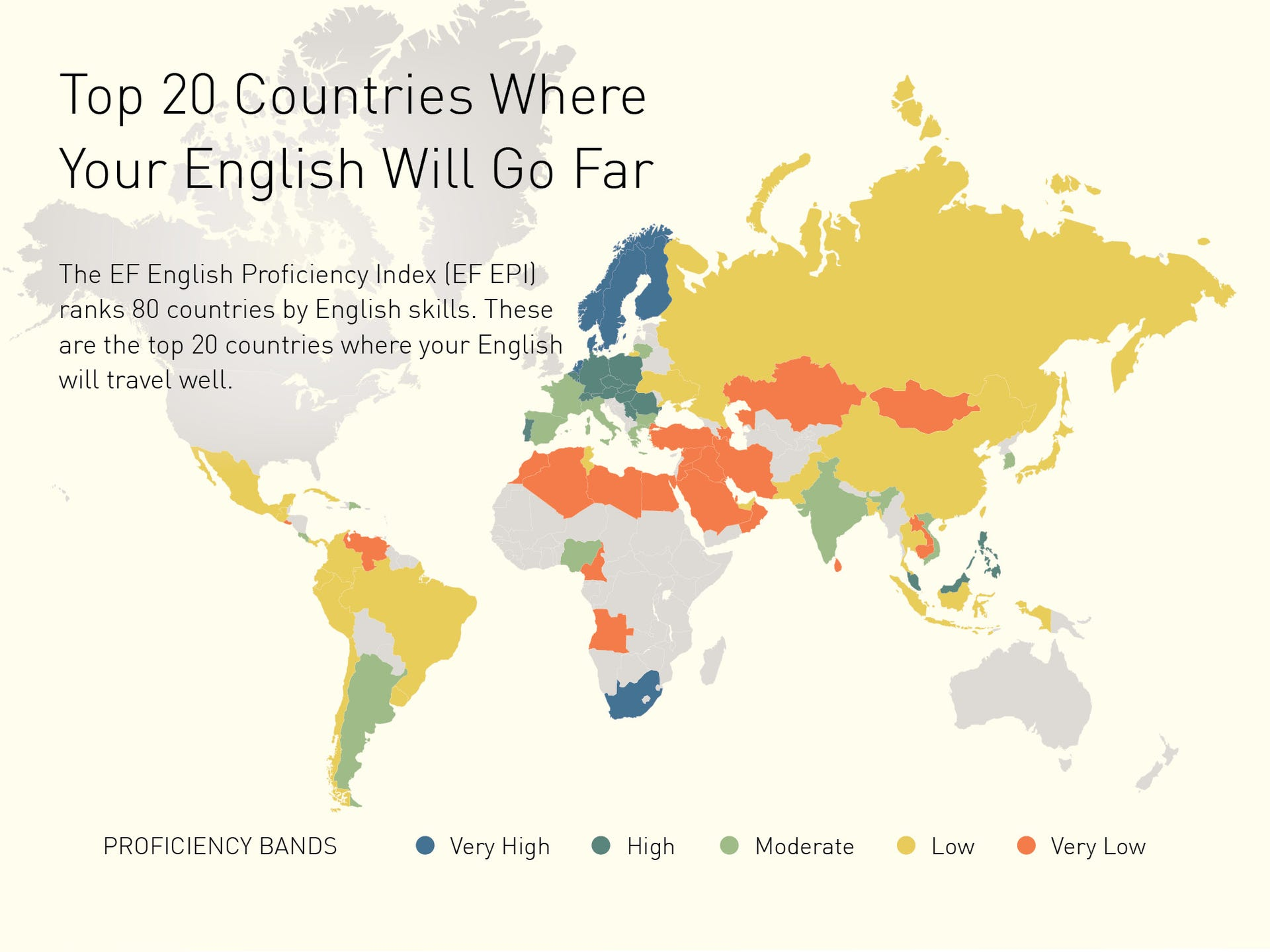 Top 20 countries where English travels well