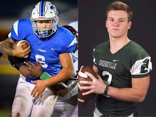 Marshall County running back Kamron Liggett (left) and Greeneville quarterback Cade Ballard (right)