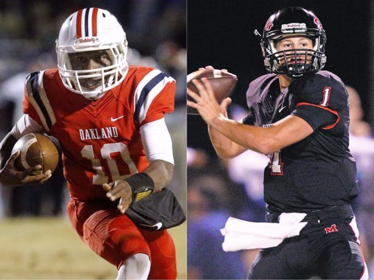 Oakland quarterback Timmy Goodrich (left) and Maryville quarterback Dylan Hopkins (right)