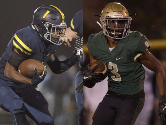 Lausanne running back Eric Gray (left) and Notre Dame athlete Cameron Wynn (right)