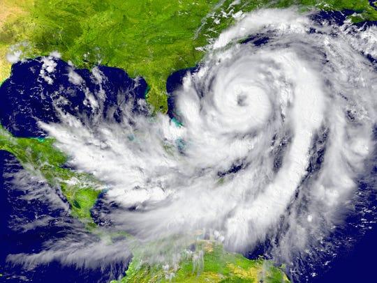 Huge hurricane between Florida and Cuba. Elements of