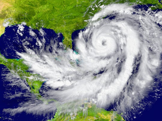 Huge hurricane between Florida and Cuba. Elements of this image furnished by NASA.