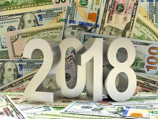 Silver 2018 New Year on dollar bills