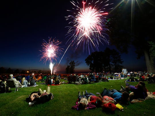 Hundreds of people gathered in Lakeside Park July 4, 2017, to picnic, play games and watch the fireworks. Doug Raflik/USA TODAY NETWORK-Wisconsin
