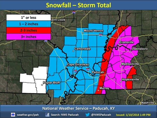 Current expected snow totals as of Wednesday afternoon's briefing