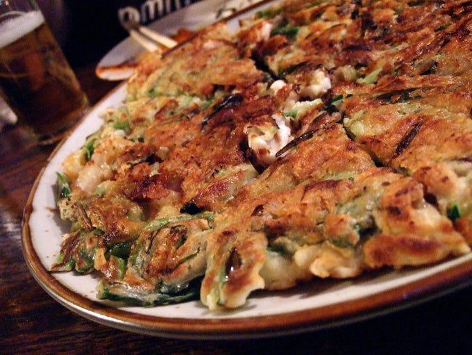Haemul pajeon (seafood pancake) at Cafe Ga Hyang.