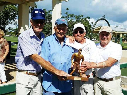 First place winners were, from left, Jim Guilford, Jerry Leeman, Peter Pareene and Connie Devito.