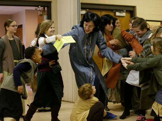 """Children rehearse """"The Prince and the Pauper"""" on Feb. 28, 2018, at the Eden Community Center. Trying to reclaim his rightful throne, Prince Edward, played Samuel Schmidt, struggles to get past the guards and street urchins and ruffians. Pictured are, from left: Sarah Doll, Abigail Rutherford, Roann Fulton, Jimmy Streeter, Samuel Schmidt, John Schauer, Ethan Poss and Rebekah Titel."""