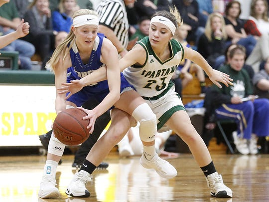 Amherst junior point guard Grace Moe (left) is one