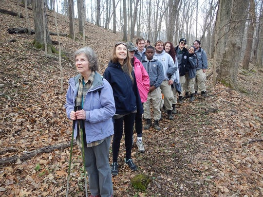 Hikers participate in the spring hike at Radnor Lake