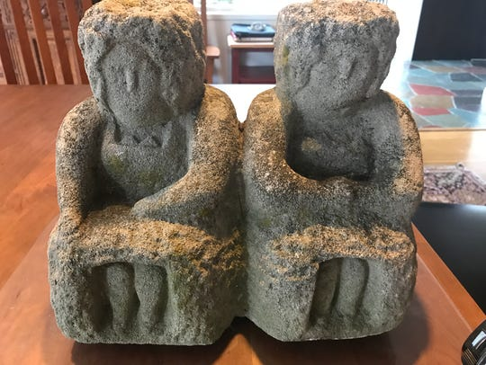 "William Edmondson (1874-1951), ""Martha and Mary,"" limestone."