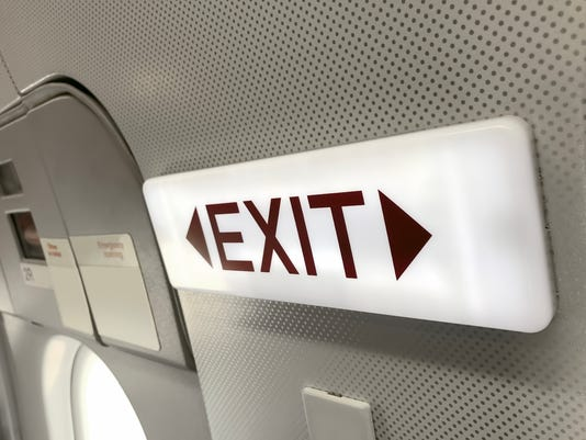 exit sign in an airplane