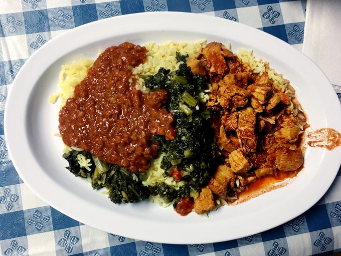A popular plate at the Ajora Ethiopian Kitchen in The