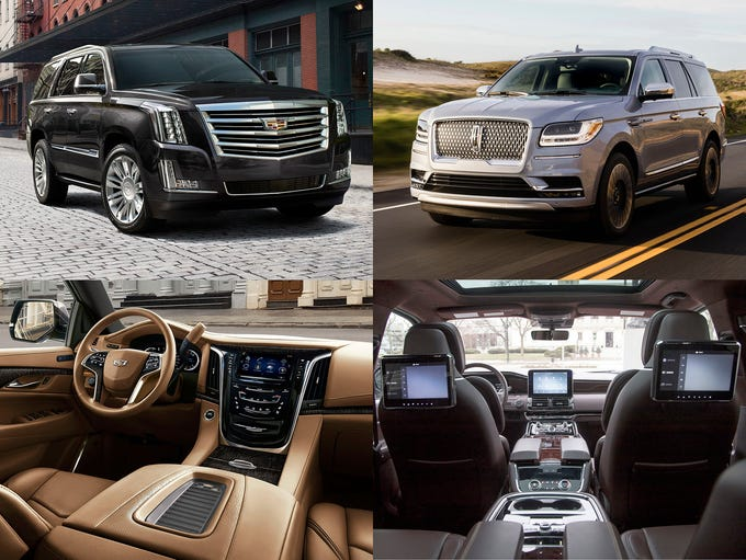 2018 Cadillac Escalade, left column and the 2018 Lincoln