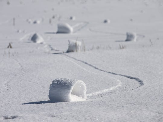 A rare weather phenomenon known as snow rollers occured