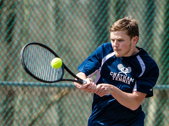 Riley Feher of Chatham competes in a Morris County Tournament second singles match at CCM in Randolph, April 29, 2018.