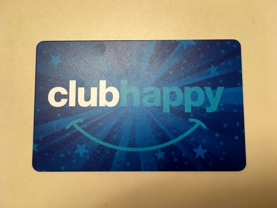 Club Happy is the rewards program where you earn one point  for every dollar you spend.